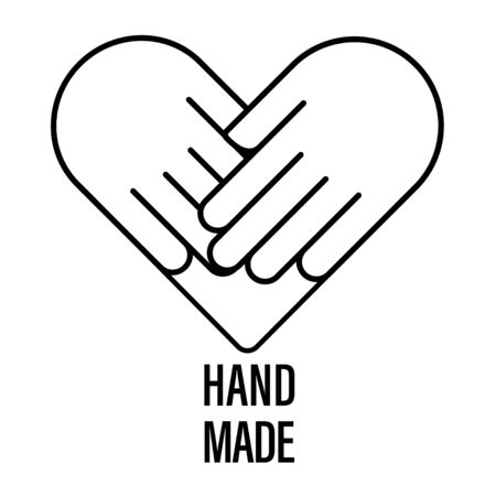 handmade vector logo icon hand made. handcraft stamp. heart love symbol. handcrafted label. organisation banner. care donation. market sticker. isolated on white background. stock illustration