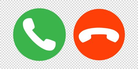 phone call icon vector. mobile cell answer symbol. dial internet button graphic illustration. isolated white background. red green circle. receive contact decline. handset shape. talk