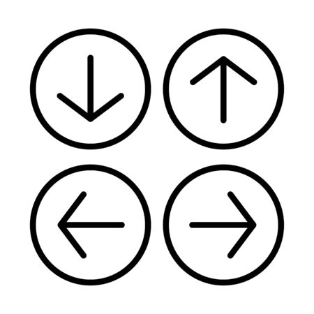arrow web icon vector button. direction next down up left rignt back previous forward symbol. isolated line white background.  Vectores