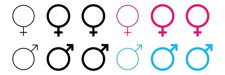 gender icon male female vector illustration. sex man men woman women symbol. boy girl logo white background. pink blue black color. Vectores