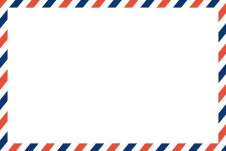 Luftpost Brief Vektor. Post Stempel. Luftpostrahmen Postkarte. blau-rotes Streifenmuster. Mockup-Vorlagenumschlag. auf weißem Hintergrund. Retro Vintage leere Nachricht. Welt international Vektorgrafik