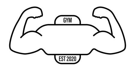 gym logo vector icon strength hands white background