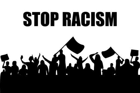 anti racism vector banner. black lives matter. stop racist. racial diversity race concept. together against racial discrimination, inequality. people equality. cant breath idea. white background Vettoriali