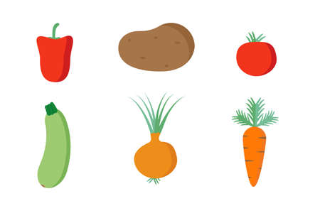 vegetable fruit food vector illustration set. healthy vegetarian ingredient flat design. isolated white background. carrot, cucumber, onion, potato, cabbage, pepper, tomato icon. nutrition collection