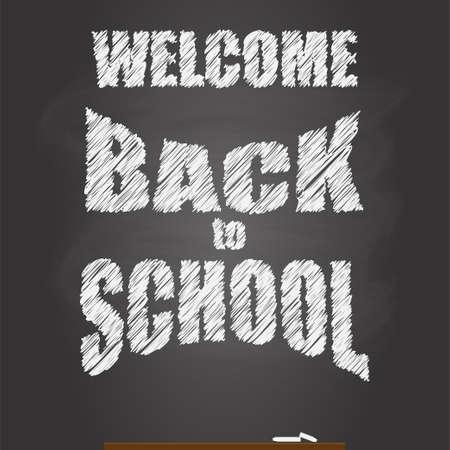 back to school chalkboard vector banner mockup, blackboard with chalk piece. education illustration. blank green board. classroom background.