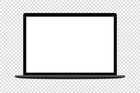 laptop computer vector mockup. realistic desktop blank screen isolated template. dark, silver white background.
