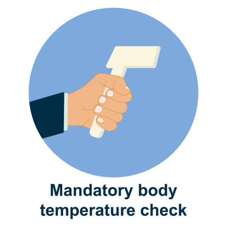 temperature control check scanner scan vector. corona virus infection protection prevention measurement. infrared thermometer forehead head hand. illustration.