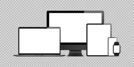 laptop, computer, tablet, mobile, watch mockup isolated blank screen vector set. white monitor touchscreen gadget technology equipment. phone, smartphone, smartwatch background Vecteurs
