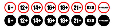 age limit, restriction icon vector symbol. eighteen plus sign. internet xxx erotica, alcohol control isolated white background