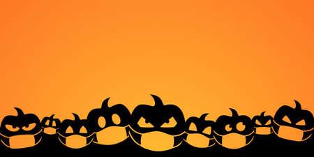 halloween pumpkin vector orange background. silhouette quarantine face mask symbol. banner seasonal october greetings. 向量圖像