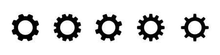 gear wheel black vector icon. cogwheel configuration set white background. mechanical technical work worked power sign. cog wheel symbol