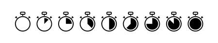 timer, stopwatch vector icon. set of black kitchen timer icons white background. countdown stock illustration. stop watch symbol clock element Ilustrace