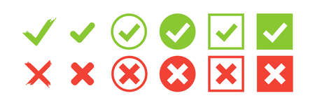 Checkmark vector icon. green tick check mark, red cross. Wrong correct isolated signs white background. x symbol vote illustration