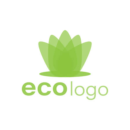 Eco green vector logotype. leaf   design. environment care company emblem white background.
