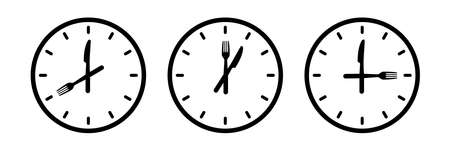food time. kitchen clock  . spoon, fork, knife, plate, menu, dish set. isolated white background. Table setting concept.