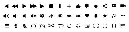 video media player icons vector set. multimedia music audio control. mediaplayer interface symbols. play, pause, mute sign. isolated white background