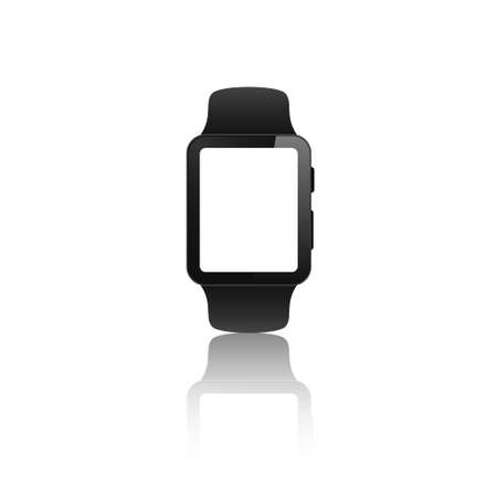 smartwatch blank screen vector mock up. realistic smart watch empty screen mockup.  isolated hand band wristwatch white background with reflection. Ilustrace