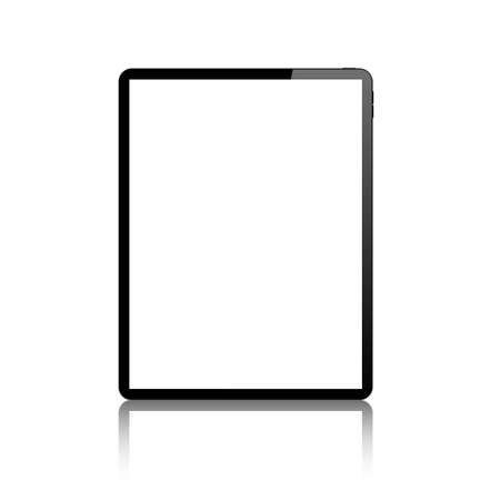 tablet blank screen vector mock up. realistic pad empty screen mockup.  isolated tablet white background with reflection.