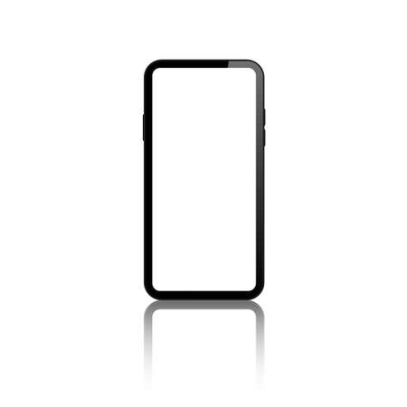 mobile phone blank screen vector mock up. realistic smartphone empty screen mockup.  isolated cellphone white background with reflection. Ilustrace