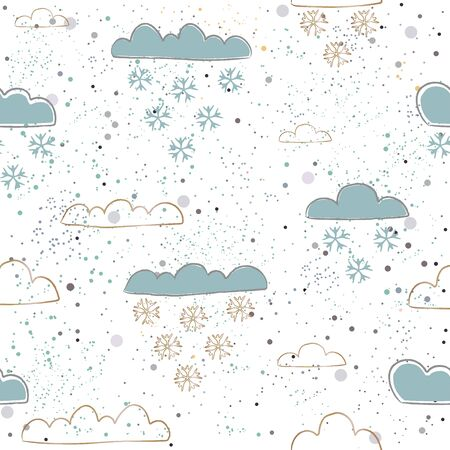 Winter Seamless Pattern with hand drawn cute clouds on dotted background. For posters, wrapping paper, card, postcards, wall art, textile, wall art design, decorations, etc. Vector Illustration