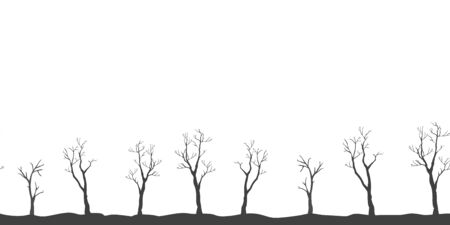 Silhouettes of Black Trees on white background. tree Pattern. Vector illustration
