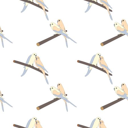 Seamless hand drawn pattern with beautiful couple of birds sitting on a branch.Great for wedding cards, postcards, t-shirts, bridal invitations, brochures, posters, gift wrapping, wall art, wallpapers