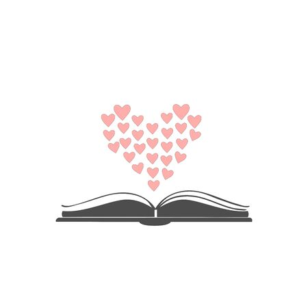 Open book icon with hearts shaped in bigger heart above it. Flat Design. For romance books. Vector Illustration