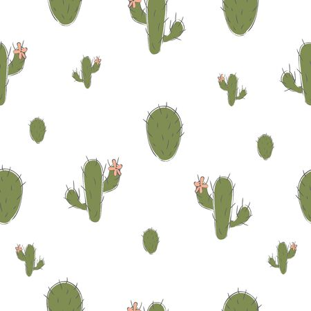 Seamless pattern with cute green cacti on subtle yellow background. Small sized cactus. vector Illustration