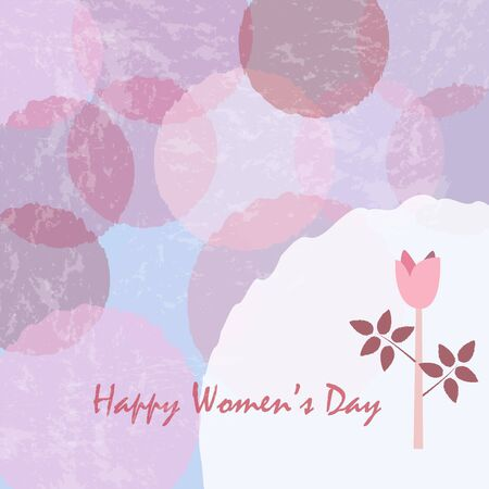 Happy Womens Day Card poster with cute flower of Rose in pastel colors of pink. Modern, delicate design