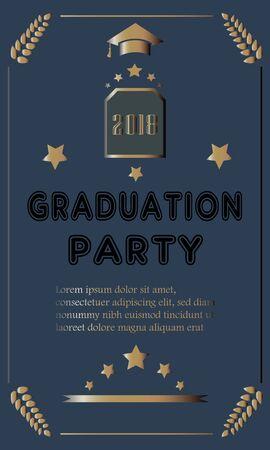 Graduation Ceremony Announcement. Rich Golden Style with golden glitter elements. Congratulations Graduates. Banque d'images - 133091927