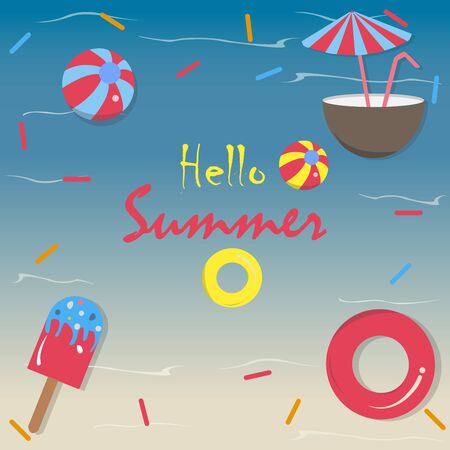 Hello Summer Vector Illustration. Summer banner vector illustration, Pool toys, red rubber ring, ice cream, coconut drink with umbrella, and ball floating in the seapool with waves. Colorful Design Stock Illustratie