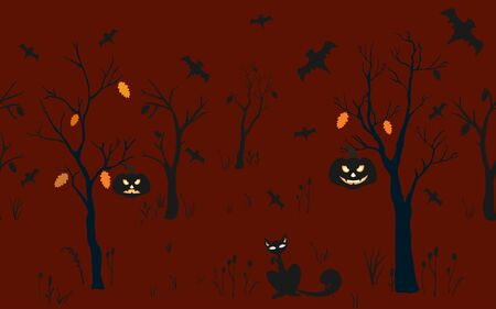 Halloween Background with silhouettes. Seamless Pattern. Halloween Vector Card, texture or background. Vector Art. Ilustrace