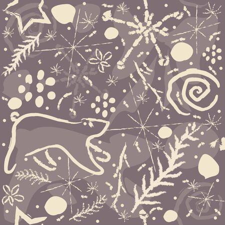 Cute Hand Drawn Winter Pattern. Seamless Pattern. Vector Illustration Фото со стока - 133428919