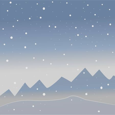 Winter Tree with few berries and Red Birds on a cold looking background with mountains and dark snowy sky. Season Nature. Snowy Natural Landscape. Vector Illustration. Cozy Winter Accent. Illustration