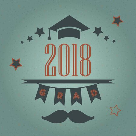 Grad of Class 2018 with mustache, graduation cap and stars. Retro Style Collection. Festive bubbly background. Vector Illustration Stock Illustratie