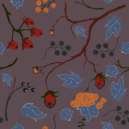 berry, Christmas Brier Spray Pattern.  , whimsical, traditional style. Colorful artistic design. For backgrounds, wallpapers, fabric, prints, textiles, wrapping, cards, swatches, etc. Ilustracja