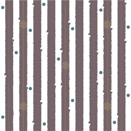 Gold glittering confetti dots and snowflakes. Seamless pattern. Blue stripes on white background. Retro festive background. Holiday greeting card. Sea, Marine Theme. Vector Illustration