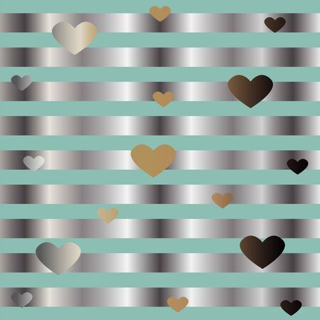 Gold and Silver Frame with Hearts. For Cards, postcards, backgrounds, covers etc. Suitable for Beauty and Luxury Products. Vector Illustration. Stylized Silver Lines on dark background.