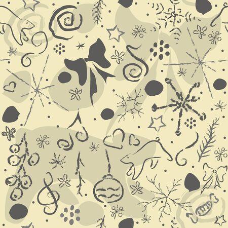 Cute Hand Drawn Winter Pattern. Seamless Texture. Vector Illustration