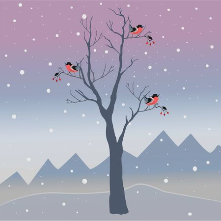 Winter Tree with few berries and Red Birds on a cold looking background with mountains and dark snowy sky. Season Nature. Snowy Natural Landscape. Vector Illustration. Cozy Winter Accent. Ilustração