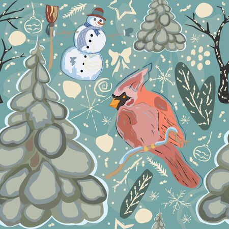 Seamless Winter Pattern with cute Cardinal Bird, Snowman and Spruce Tree. Vector Illustration.