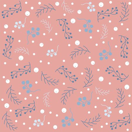 Seamless Christmas pattern with branches with berries and spruce branches. Vector illustration.Winter Collection