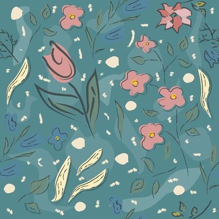 Floral Seamless Pattern. Hand Drawn. Vector Illustration