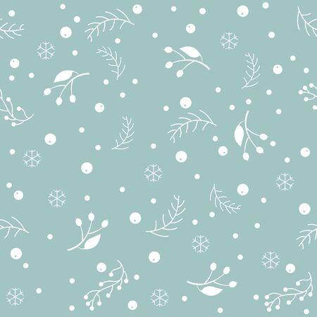 Seamless Winter Pattern. Merry Christmas Texture. Vector Illustration