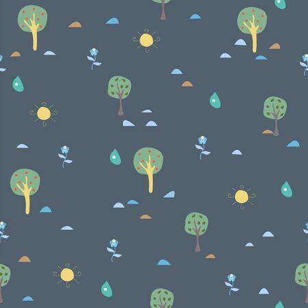 Simple Summer Seamless Pattern with trees, sun, drops of rain, flowers, berries. Vector Illustration Ilustração