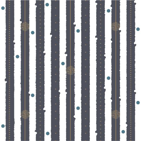 Cute Pattern with dark stripes and golden elements. Vector Illustration