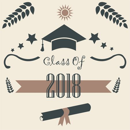 Class of 2018. Graduation Theme. Vector Illustration.  Banque d'images - 133154197