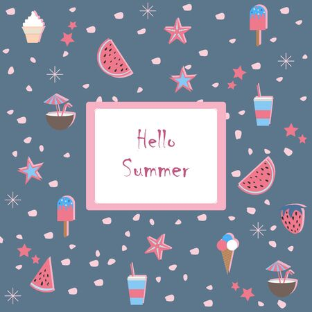 Hello Summer. Summer Seamless Pattern with watermelons and strawberry. Cute Background, summer fruits. Vector Illustration.Summer Holiday Camp poster. Vetores