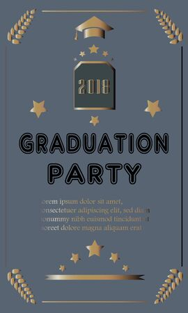 Graduation Party Announcement on modern background with golden text and elements. Vector Illustration Banque d'images - 133154562