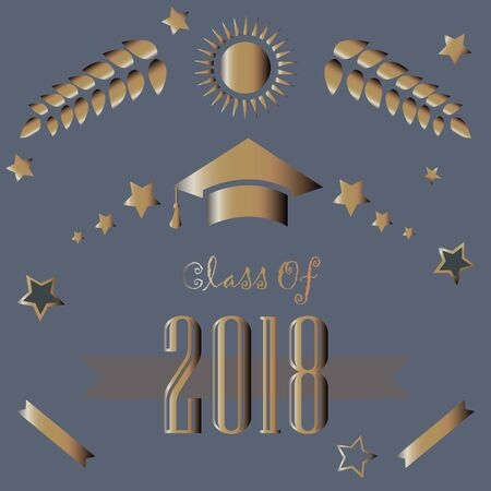 Class of 2018 in gold on purple background. Vector Illustration.